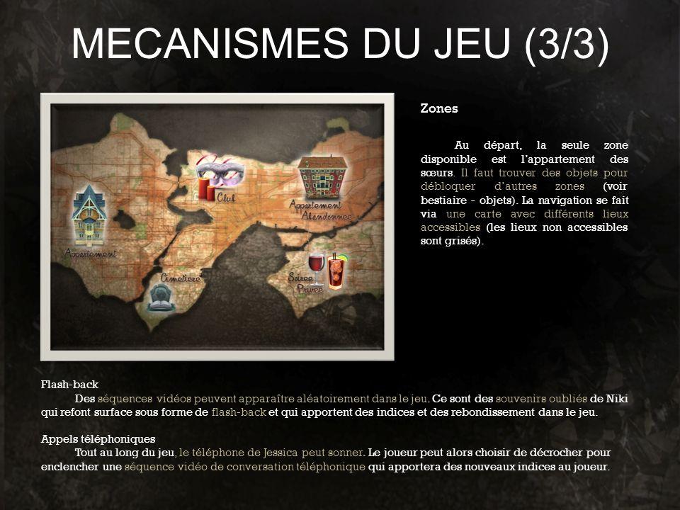 MECANISMES DU JEU (3/3) Flash-back Des séquences vidéos peuvent apparaître aléatoirement dans le jeu. Ce sont des souvenirs oubliés de Niki qui refont