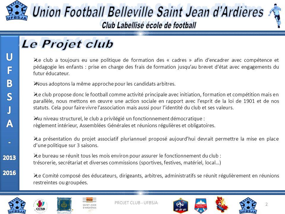 2 PROJET CLUB - UFBSJA Le club a toujours eu une politique de formation des « cadres » afin dencadrer avec compétence et pédagogie les enfants : prise
