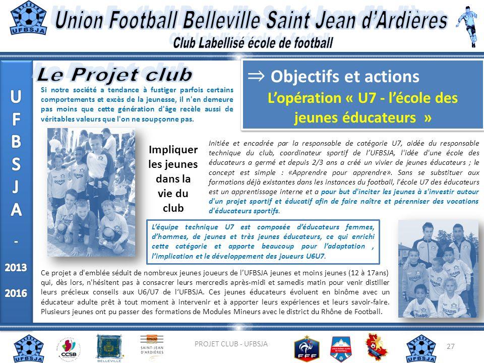 27 PROJET CLUB - UFBSJA Objectifs et actions Lopération « U7 - lécole des jeunes éducateurs » Objectifs et actions Lopération « U7 - lécole des jeunes