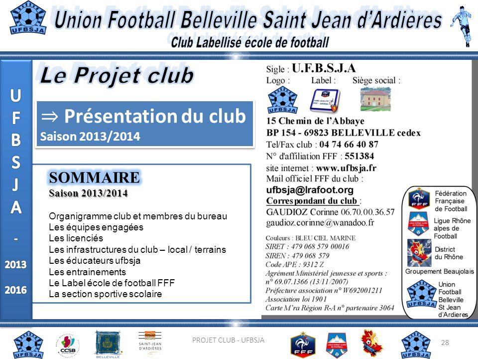 28 PROJET CLUB - UFBSJA Présentation du club Saison 2013/2014 Présentation du club Saison 2013/2014