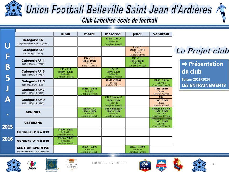 36 PROJET CLUB - UFBSJA Présentation du club Saison 2013/2014 LES ENTRAINEMENTS Présentation du club Saison 2013/2014 LES ENTRAINEMENTS