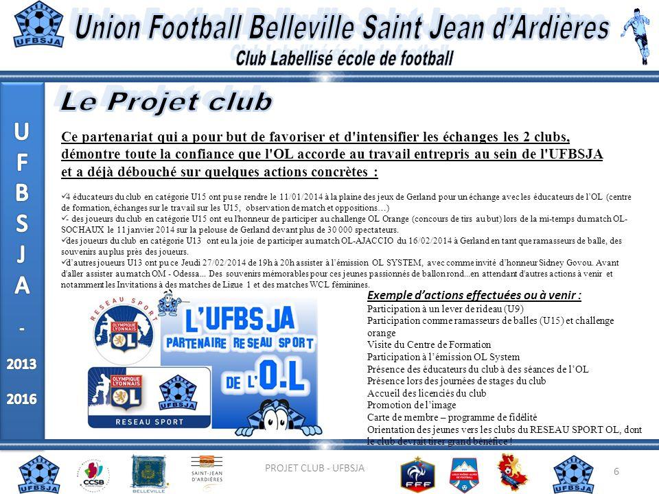 6 PROJET CLUB - UFBSJA Ce partenariat qui a pour but de favoriser et d'intensifier les échanges les 2 clubs, démontre toute la confiance que l'OL acco