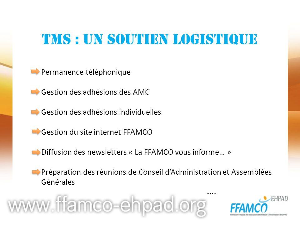 TMS : UN SOUTIEN LOGISTIQUE Permanence téléphonique Gestion des adhésions des AMC Gestion des adhésions individuelles Gestion du site internet FFAMCO
