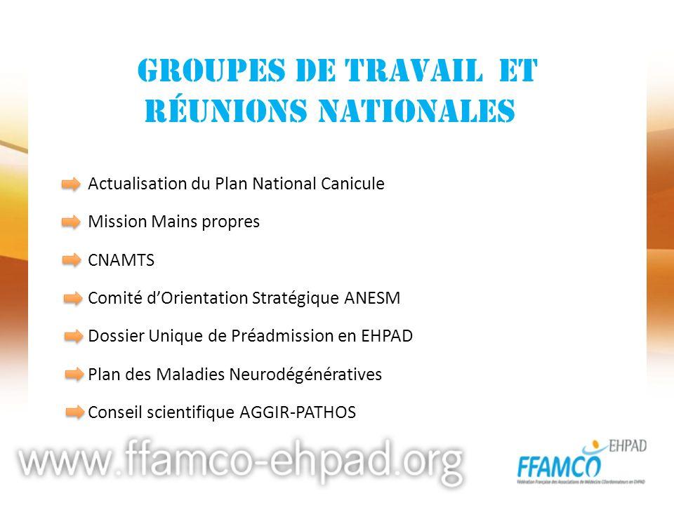 groupes de travail et réunions nationales Actualisation du Plan National Canicule Mission Mains propres CNAMTS Comité dOrientation Stratégique ANESM D