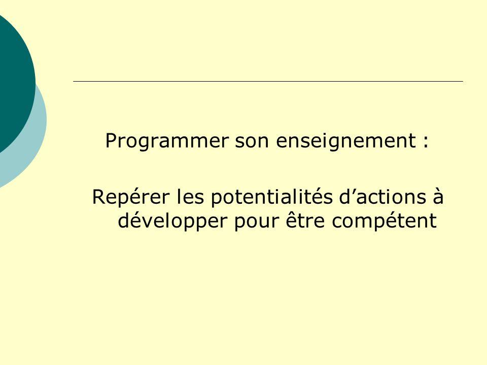 Programmer son enseignement : Repérer les potentialités dactions à développer pour être compétent