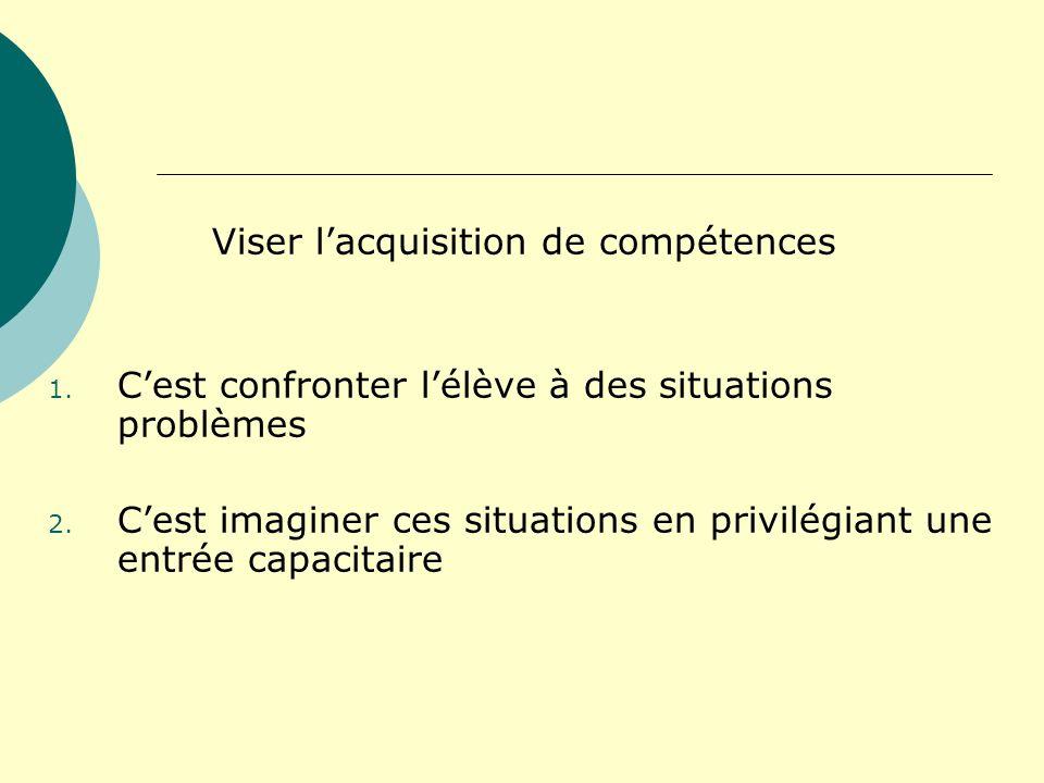 Viser lacquisition de compétences 1. Cest confronter lélève à des situations problèmes 2. Cest imaginer ces situations en privilégiant une entrée capa
