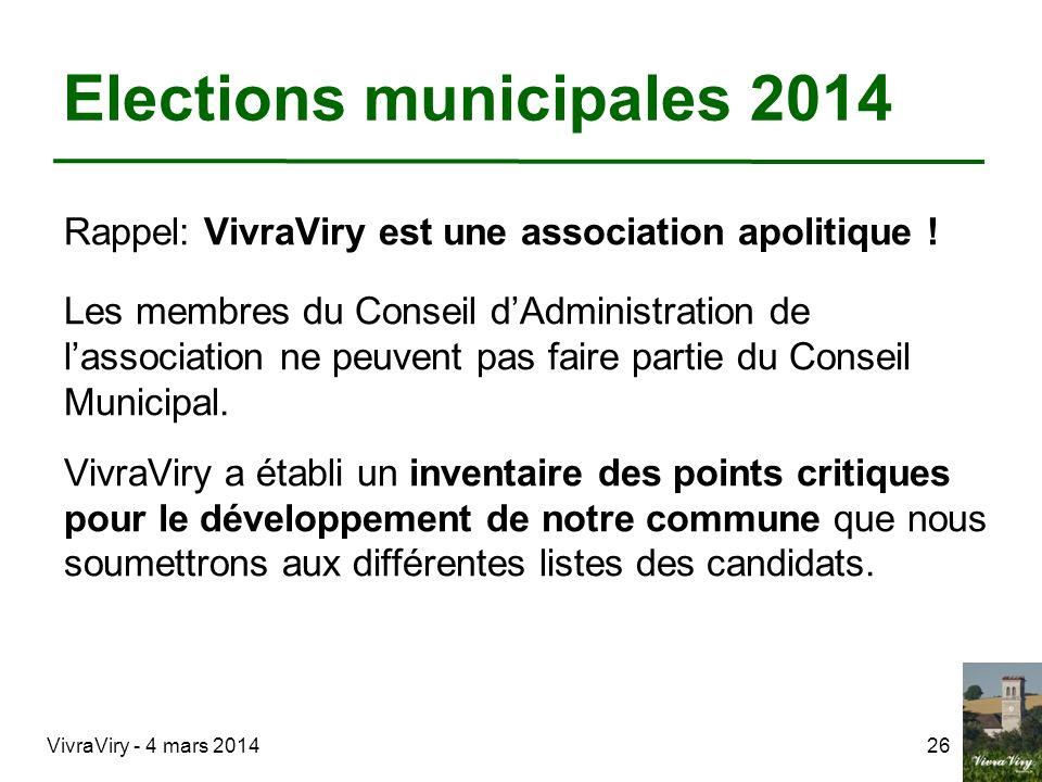 VivraViry - 4 mars 201426 Elections municipales 2014 Rappel: VivraViry est une association apolitique ! Les membres du Conseil dAdministration de lass