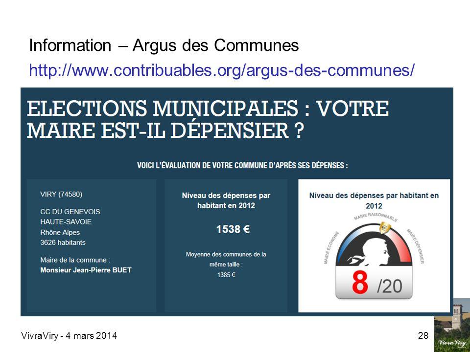 VivraViry - 4 mars 201428 Information – Argus des Communes http://www.contribuables.org/argus-des-communes/