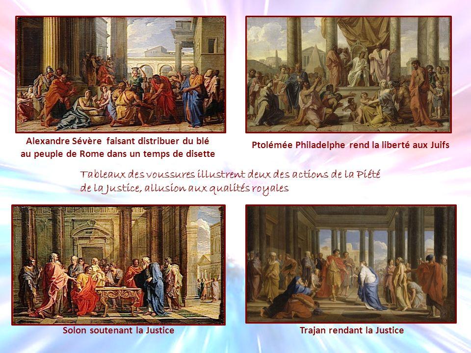 Alexandre Sévère faisant distribuer du blé au peuple de Rome dans un temps de disette Ptolémée Philadelphe rend la liberté aux Juifs Solon soutenant l