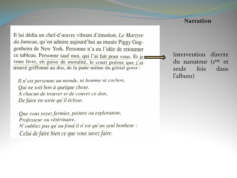Narration Intervention directe du narrateur (1 ère et seule fois dans lalbum)