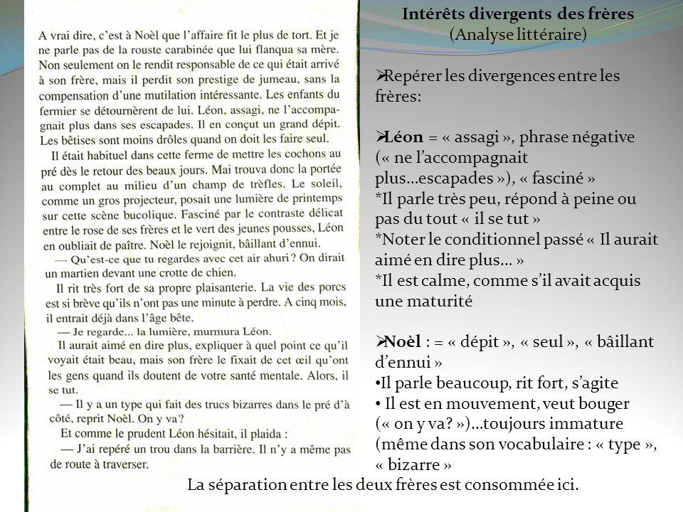 Intérêts divergents des frères (Analyse littéraire) Repérer les divergences entre les frères: Léon = « assagi », phrase négative (« ne laccompagnait p