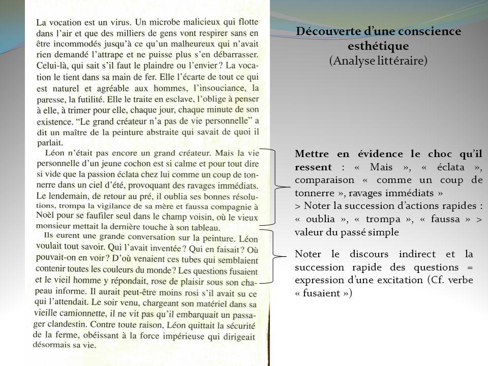 Découverte dune conscience esthétique (Analyse littéraire) Mettre en évidence le choc quil ressent : « Mais », « éclata », comparaison « comme un coup