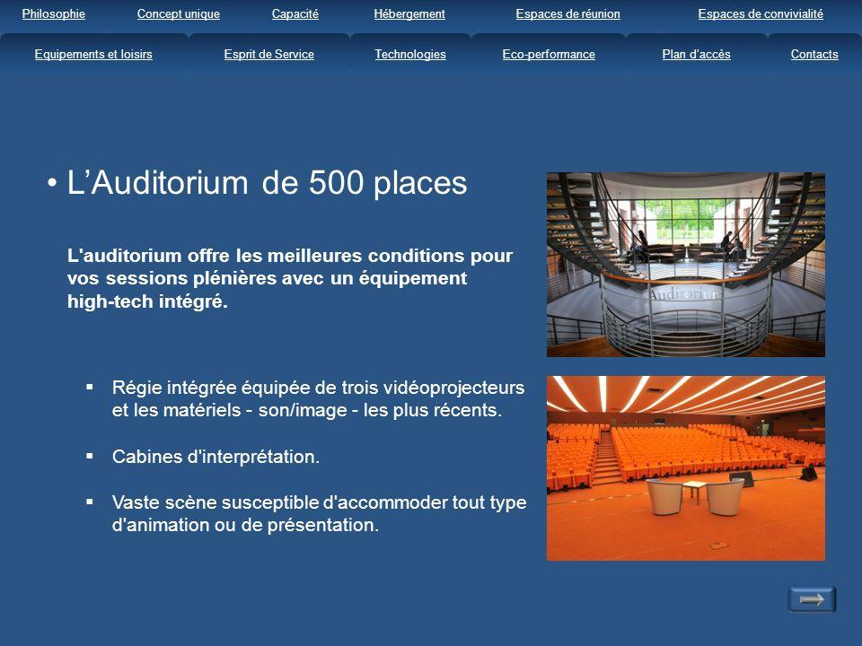 LAuditorium de 500 places L auditorium offre les meilleures conditions pour vos sessions plénières avec un équipement high-tech intégré.