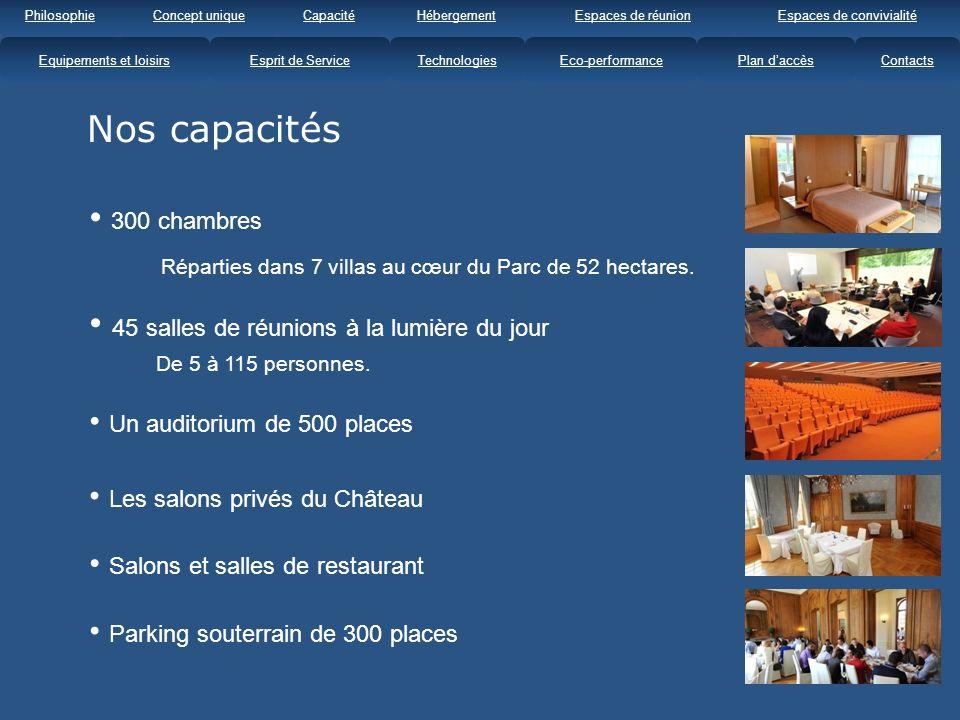 Nos capacités 45 salles de réunions à la lumière du jour De 5 à 115 personnes.