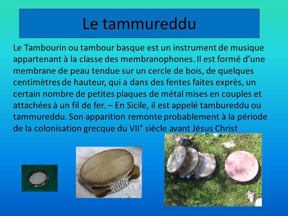 Le tammureddu Le Tambourin ou tambour basque est un instrument de musique appartenant à la classe des membranophones. Il est formé dune membrane de pe