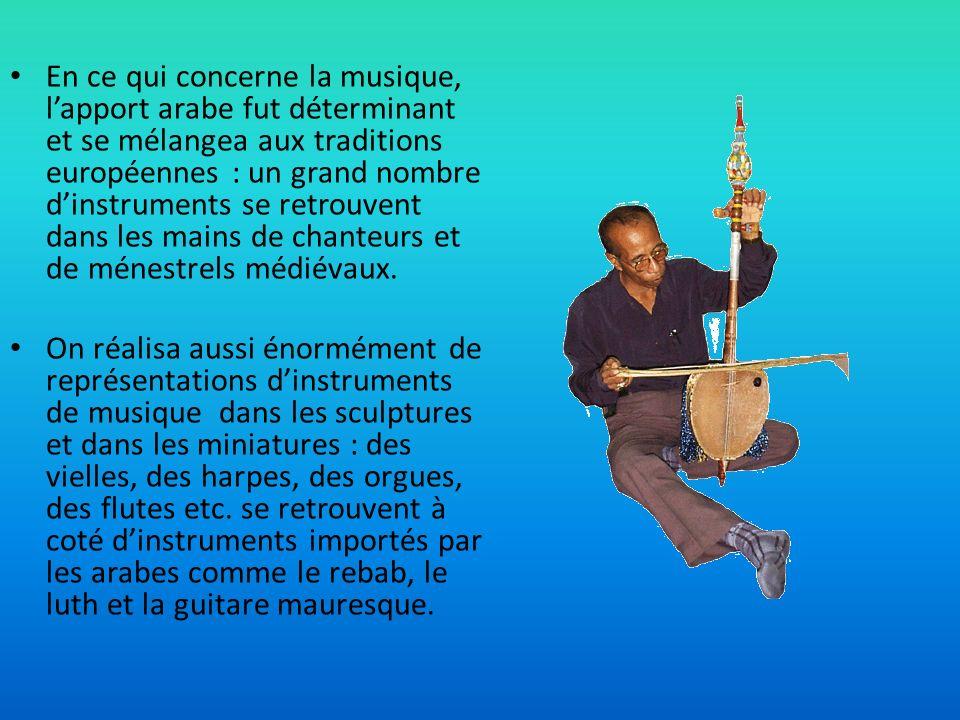 En ce qui concerne la musique, lapport arabe fut déterminant et se mélangea aux traditions européennes : un grand nombre dinstruments se retrouvent da