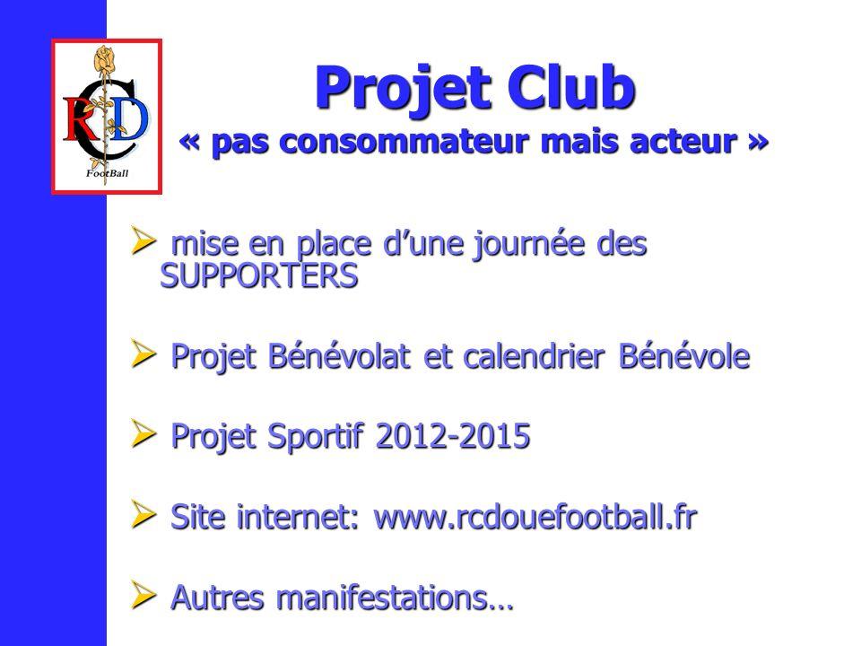 Projet Club « pas consommateur mais acteur » mise en place dune journée des SUPPORTERS mise en place dune journée des SUPPORTERS Projet Bénévolat et c