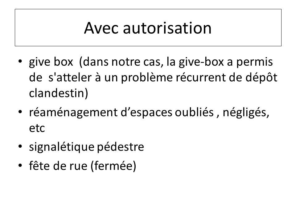 Avec autorisation give box (dans notre cas, la give-box a permis de s atteler à un problème récurrent de dépôt clandestin) réaménagement despaces oubliés, négligés, etc signalétique pédestre fête de rue (fermée)