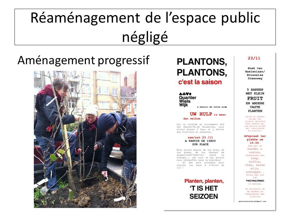 Réaménagement de lespace public négligé Aménagement progressif