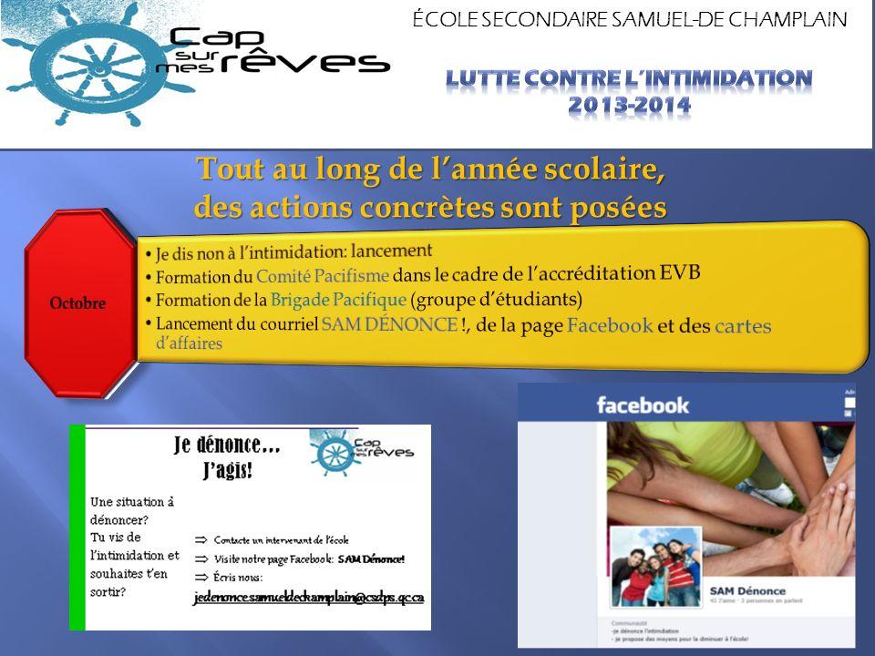ÉCOLE SECONDAIRE SAMUEL-DE CHAMPLAIN Tout au long de lannée scolaire, des actions concrètes sont posées