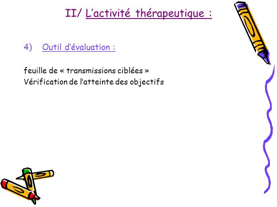 II/ Lactivité thérapeutique : 4)Outil dévaluation : feuille de « transmissions ciblées » Vérification de latteinte des objectifs