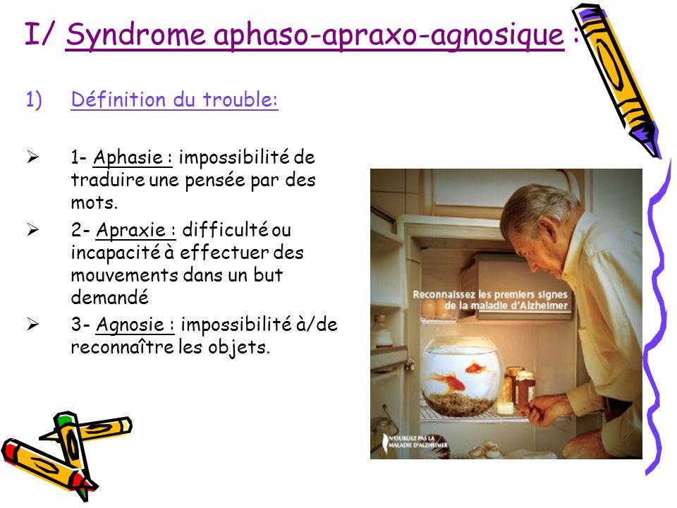 I/ Syndrome aphaso-apraxo-agnosique : 1)Définition du trouble: 1- Aphasie : impossibilité de traduire une pensée par des mots. 2- Apraxie : difficulté
