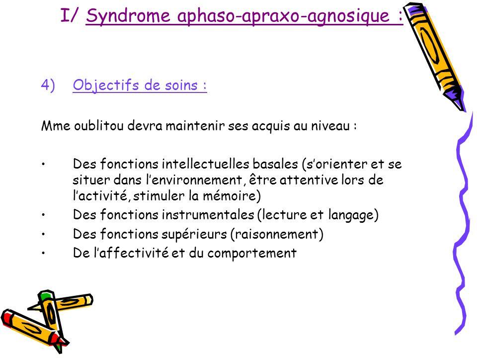 I/ Syndrome aphaso-apraxo-agnosique : 4)Objectifs de soins : Mme oublitou devra maintenir ses acquis au niveau : Des fonctions intellectuelles basales