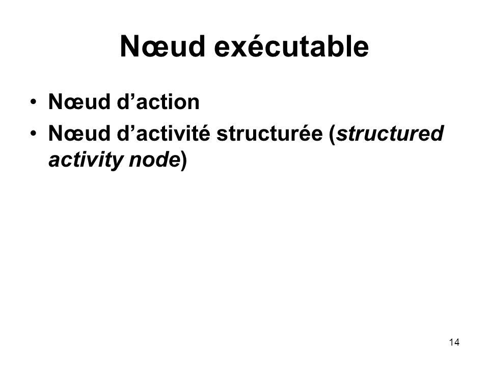 14 Nœud exécutable Nœud daction Nœud dactivité structurée (structured activity node)