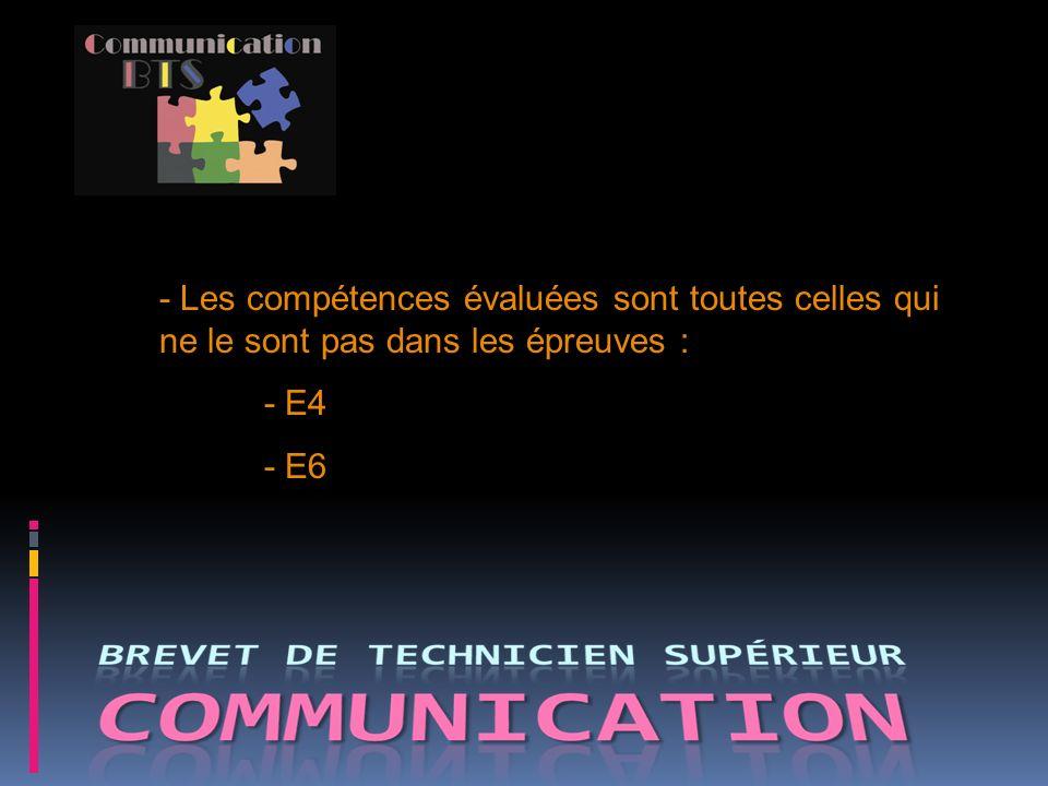 - Les compétences évaluées sont toutes celles qui ne le sont pas dans les épreuves : - E4 - E6
