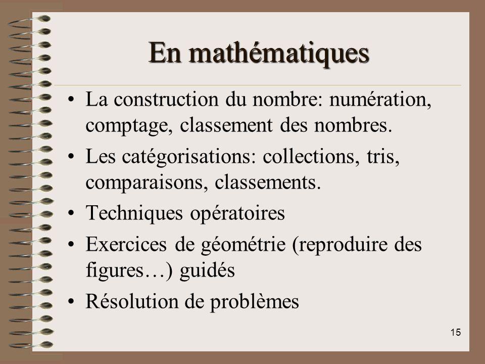 En mathématiques La construction du nombre: numération, comptage, classement des nombres.