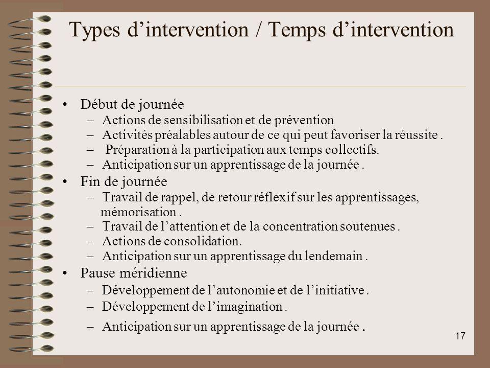Types dintervention / Temps dintervention Début de journée –Actions de sensibilisation et de prévention –Activités préalables autour de ce qui peut favoriser la réussite.