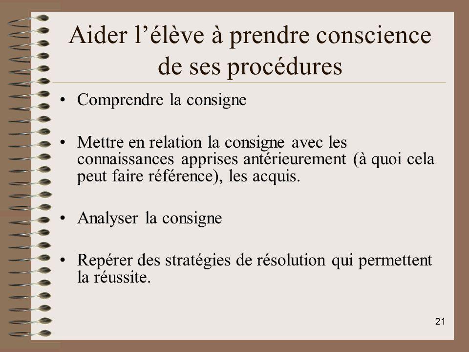 Aider lélève à prendre conscience de ses procédures Comprendre la consigne Mettre en relation la consigne avec les connaissances apprises antérieurement (à quoi cela peut faire référence), les acquis.