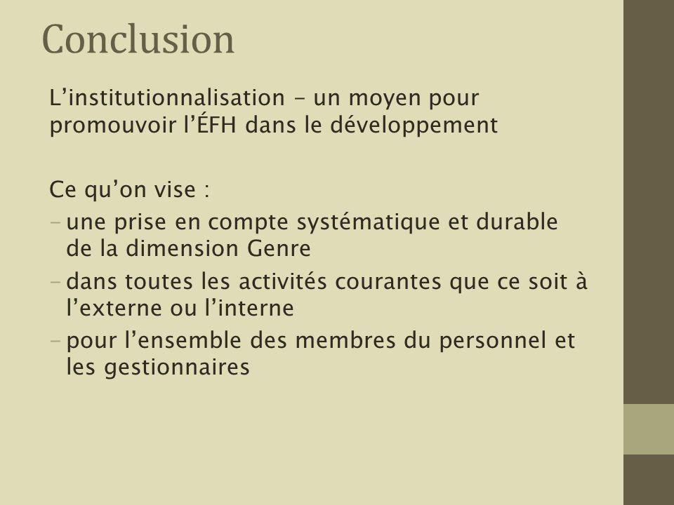 Conclusion Linstitutionnalisation - un moyen pour promouvoir lÉFH dans le développement Ce quon vise : -une prise en compte systématique et durable de