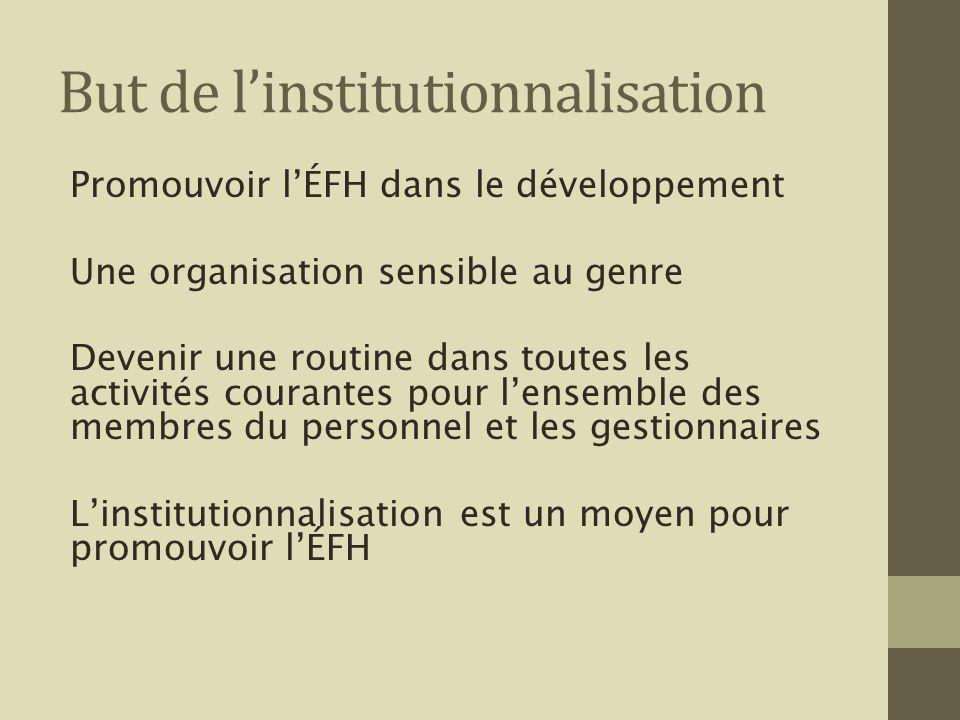 But de linstitutionnalisation Promouvoir lÉFH dans le développement Une organisation sensible au genre Devenir une routine dans toutes les activités c