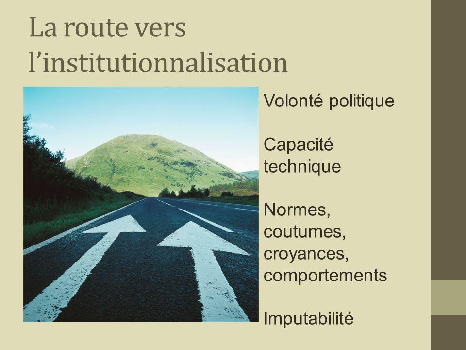 La route vers linstitutionnalisation Volonté politique Capacité technique Normes, coutumes, croyances, comportements Imputabilité