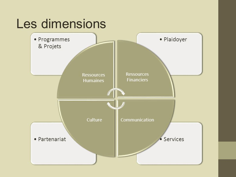 ServicesPartenariat PlaidoyerProgrammes & Projets Ressources Humaines Ressources Financiers CommunicationCulture Les dimensions