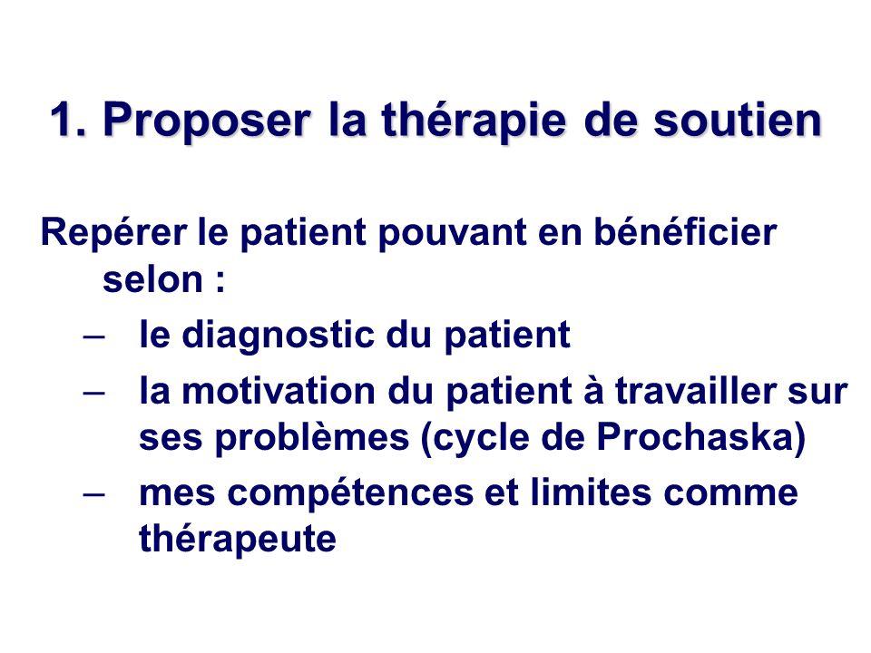 1. Proposer la thérapie de soutien Repérer le patient pouvant en bénéficier selon : –le diagnostic du patient –la motivation du patient à travailler s