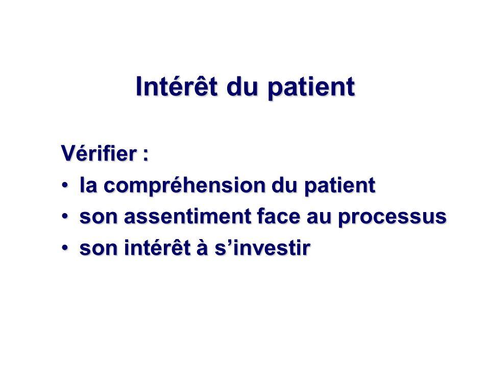 Intérêt du patient Vérifier : la compréhension du patientla compréhension du patient son assentiment face au processusson assentiment face au processus son intérêt à sinvestirson intérêt à sinvestir