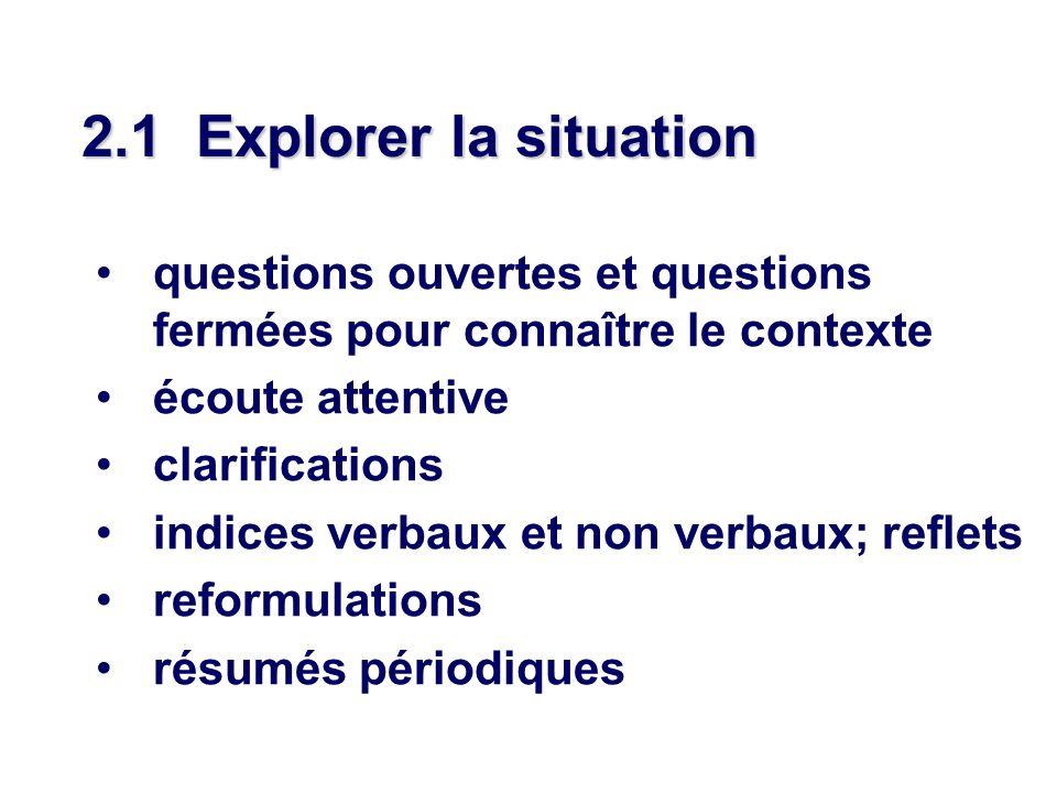 2.1 Explorer la situation questions ouvertes et questions fermées pour connaître le contexte écoute attentive clarifications indices verbaux et non ve