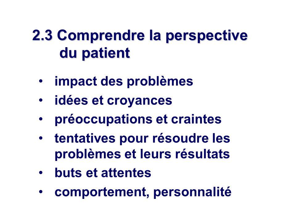 2.3 Comprendre la perspective du patient impact des problèmes idées et croyances préoccupations et craintes tentatives pour résoudre les problèmes et leurs résultats buts et attentes comportement, personnalité