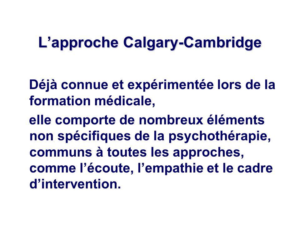 Lapproche Calgary-Cambridge Déjà connue et expérimentée lors de la formation médicale, elle comporte de nombreux éléments non spécifiques de la psycho