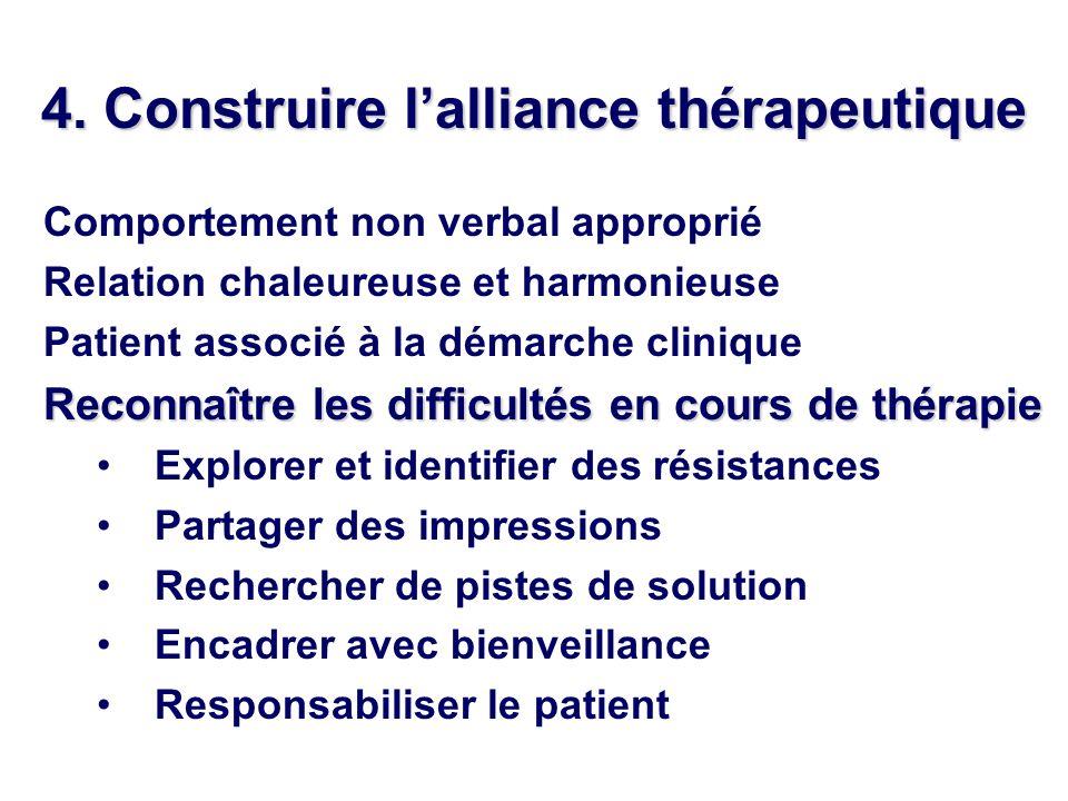 4. Construire lalliance thérapeutique Comportement non verbal approprié Relation chaleureuse et harmonieuse Patient associé à la démarche clinique Rec