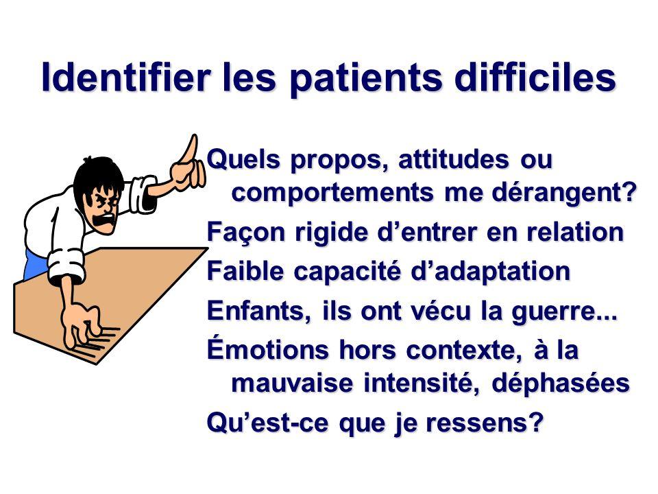 Identifier les patients difficiles Quels propos, attitudes ou comportements me dérangent? Façon rigide dentrer en relation Faible capacité dadaptation