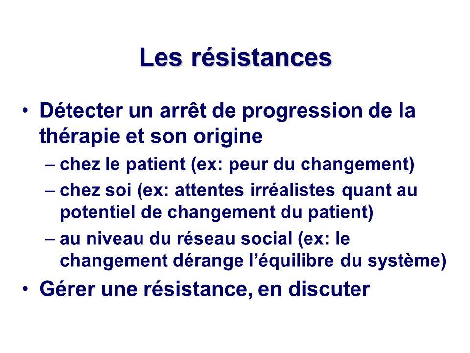 Les résistances Détecter un arrêt de progression de la thérapie et son origine –chez le patient (ex: peur du changement) –chez soi (ex: attentes irréalistes quant au potentiel de changement du patient) –au niveau du réseau social (ex: le changement dérange léquilibre du système) Gérer une résistance, en discuter
