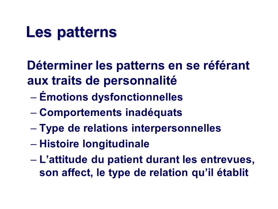 Les patterns Déterminer les patterns en se référant aux traits de personnalité –Émotions dysfonctionnelles –Comportements inadéquats –Type de relations interpersonnelles –Histoire longitudinale –Lattitude du patient durant les entrevues, son affect, le type de relation quil établit
