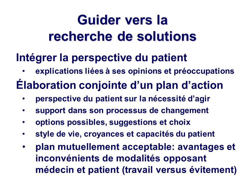 Guider vers la recherche de solutions Intégrer la perspective du patient explications liées à ses opinions et préoccupations Élaboration conjointe dun