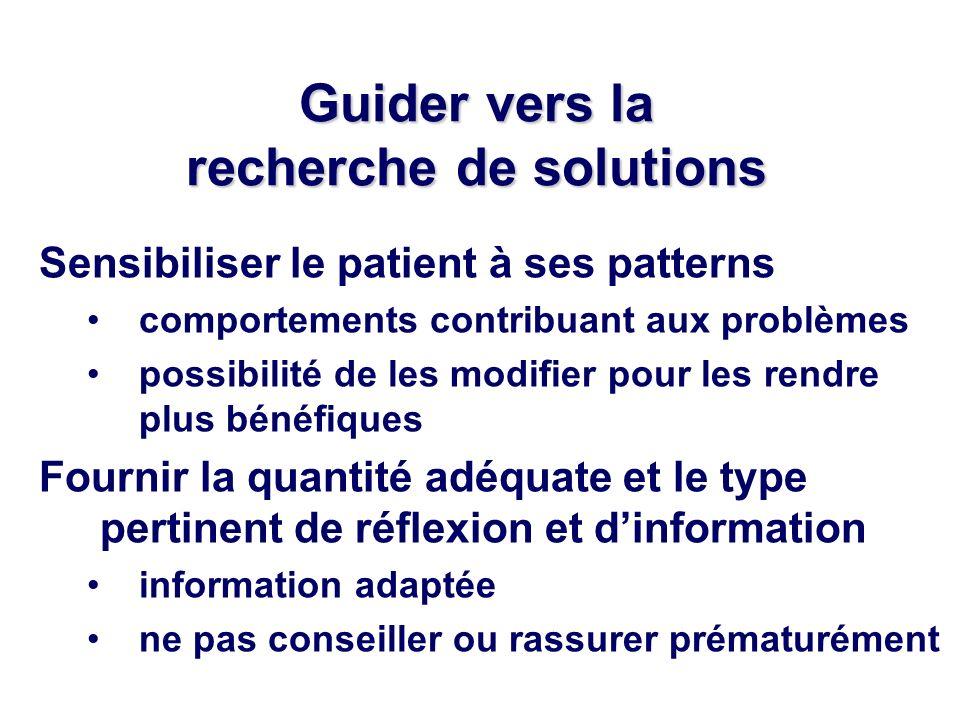 Guider vers la recherche de solutions Sensibiliser le patient à ses patterns comportements contribuant aux problèmes possibilité de les modifier pour les rendre plus bénéfiques Fournir la quantité adéquate et le type pertinent de réflexion et dinformation information adaptée ne pas conseiller ou rassurer prématurément
