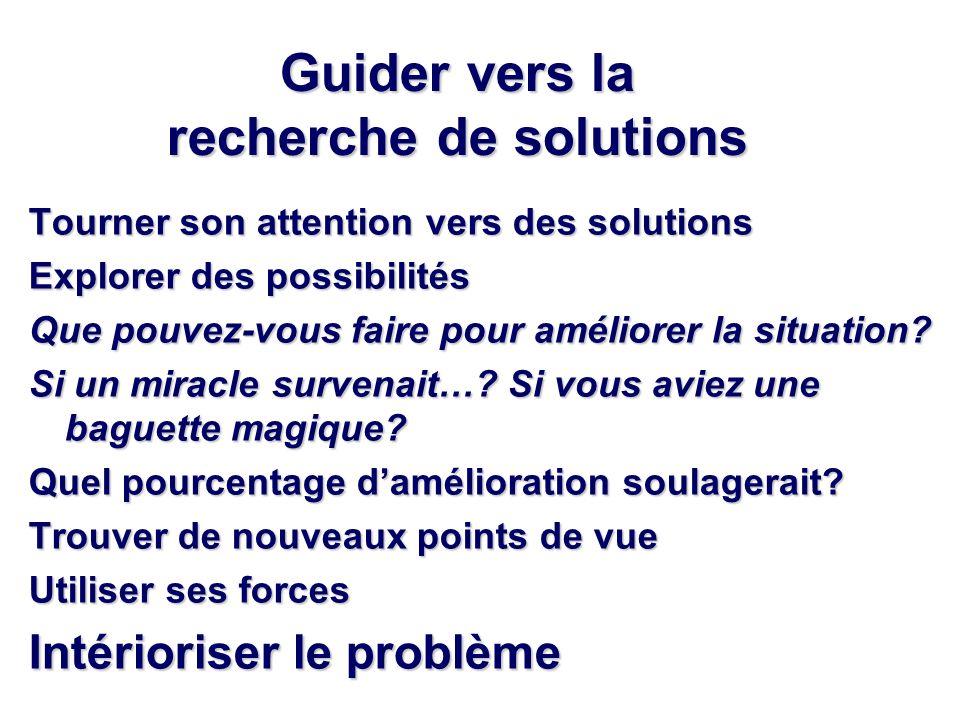 Guider vers la recherche de solutions Tourner son attention vers des solutions Explorer des possibilités Que pouvez-vous faire pour améliorer la situation.