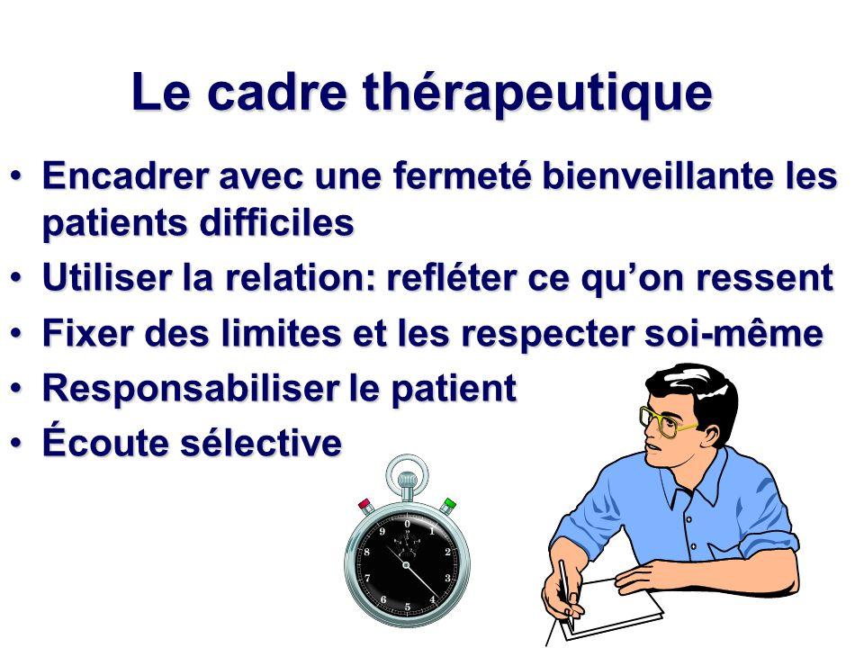 Le cadre thérapeutique Encadrer avec une fermeté bienveillante les patients difficilesEncadrer avec une fermeté bienveillante les patients difficiles
