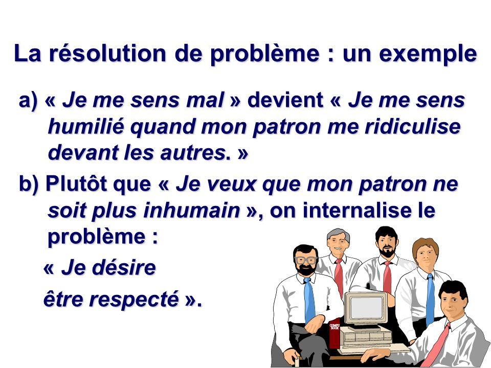 La résolution de problème : un exemple a) « Je me sens mal » devient « Je me sens humilié quand mon patron me ridiculise devant les autres. » b) Plutô
